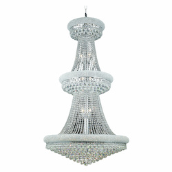 Elegant Cut Clear Crystal Primo 32-Light, Three-Tier Crystal Chandelier, Finished in Chrome with Clear Crystals
