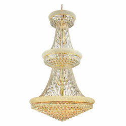 Elegant Cut Clear Crystal Primo 32-Light, Three-Tier Crystal Chandelier, Finished in Gold with Clear Crystals