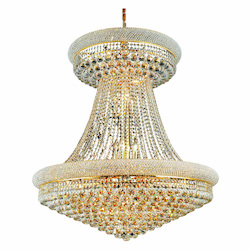 Elegant Lighting 1800G36Sg/Ss Swarovski Elements Clear Crystal Primo 28-Light, Two-Tier Crystal Chandelier, Finished In Gold With Clear Crystals
