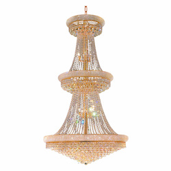 Elegant Cut Clear Crystal Primo 38-Light, Three-Tier Crystal Chandelier, Finished in Gold with Clear Crystals