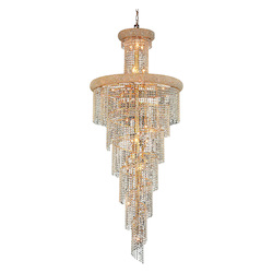 Elegant Cut Clear Crystal Spiral 28-Light, Six-Tier Crystal Chandelier, Finished in Gold with Clear Crystals