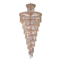 Elegant Cut Clear Crystal Spiral 32-Light, Seven-Tier Crystal Chandelier, Finished in Gold with Clear Crystals