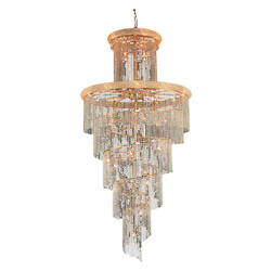 Elegant Cut Clear Crystal Spiral 41-Light, Four-Tier Crystal Chandelier, Finished in Gold with Clear Crystals