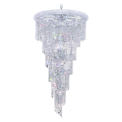 Elegant Cut Clear Crystal Spiral 22-Light, Six-Tier Crystal Chandelier, Finished in Chrome with Clear Crystals