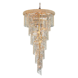 Elegant Cut Clear Crystal Spiral 22-Light, Six-Tier Crystal Chandelier, Finished in Gold with Clear Crystals