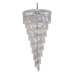 Elegant Cut Clear Crystal Spiral 26-Light, Seven-Tier Crystal Chandelier, Finished in Chrome with Clear Crystals