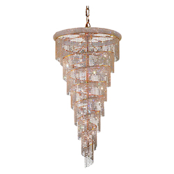 Elegant Cut Clear Crystal Spiral 26-Light, Seven-Tier Crystal Chandelier, Finished in Gold with Clear Crystals