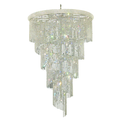 Elegant Cut Clear Crystal Spiral 29-Light, Four-Tier Crystal Chandelier, Finished in Chrome with Clear Crystals