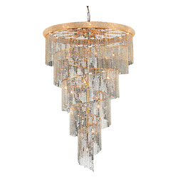 Elegant Cut Clear Crystal Spiral 29-Light, Four-Tier Crystal Chandelier, Finished in Gold with Clear Crystals