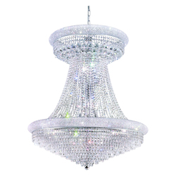 Elegant Cut Clear Crystal Primo 28-Light, Two-Tier Crystal Chandelier, Finished in Chrome with Clear Crystals