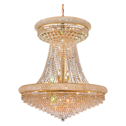 Elegant Cut Clear Crystal Primo 28-Light, Two-Tier Crystal Chandelier, Finished in Gold with Clear Crystals