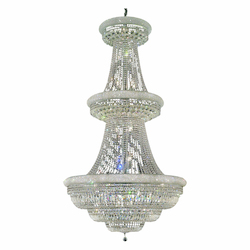 Elegant Cut Clear Crystal Primo 38-Light, Three-Tier Crystal Chandelier, Finished in Chrome with Clear Crystals