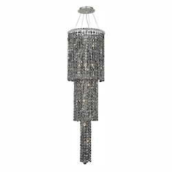 Elegant Lighting 2031G54C-Ss/Ss Swarovski Elements Grey Silver Shade Crystal Maxim 12-Light, Three-Tier Crystal Chandelier, Finished In Chrome With Grey Silver Shade Crystals