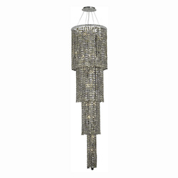 Elegant Lighting 2031G66C-Gt/Ss Swarovski Elements Smoky Golden Teak Crystal Maxim 18-Light, Four-Tier Crystal Chandelier, Finished In Chrome With Smoky Golden Teak Crystals