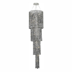 Elegant Lighting 2031G66C-Ss/Ss Swarovski Elements Grey Silver Shade Crystal Maxim 18-Light, Four-Tier Crystal Chandelier, Finished In Chrome With Grey Silver Shade Crystals
