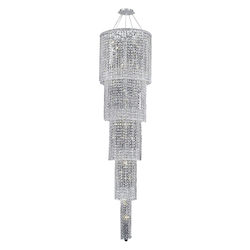 Elegant Lighting 2031G80C/Ss Swarovski Elements Clear Crystal Maxim 22-Light, Five-Tier Crystal Chandelier, Finished In Chrome With Clear Crystals
