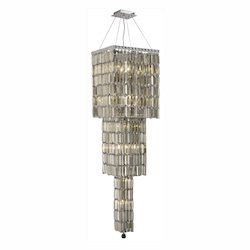 Elegant Lighting 2032G54C-Gt/Ss Swarovski Elements Smoky Golden Teak Crystal Maxim 14-Light, Three-Tier Crystal Chandelier, Finished In Chrome With Smoky Golden Teak Crystals