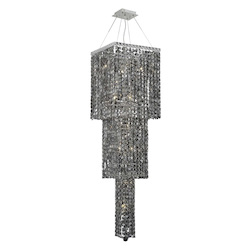 Elegant Lighting 2033G54C-Ss/Ss Swarovski Elements Grey Silver Shade Crystal Maxim 14-Light, Three-Tier Crystal Chandelier, Finished In Chrome With Grey Silver Shade Crystals