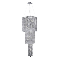 Elegant Lighting 2033G54C/Ss Swarovski Elements Clear Crystal Maxim 14-Light, Three-Tier Crystal Chandelier, Finished In Chrome With Clear Crystals