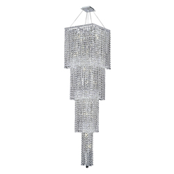 Elegant Lighting 2033G66C/Ss Swarovski Elements Clear Crystal Maxim 18-Light, Four-Tier Crystal Chandelier, Finished In Chrome With Clear Crystals