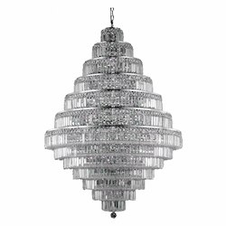 Elegant Cut Clear Crystal Maxim 38-Light, Thirteen-Tier Crystal Chandelier, Finished in Chrome with Clear Crystals