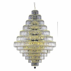 Elegant Cut Clear Crystal Maxim 38-Light, Thirteen-Tier Crystal Chandelier, Finished in Gold with Clear Crystals