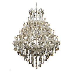 Elegant Lighting 2801G46C-Gt/Ss Swarovski Elements Smoky Golden Teak Crystal Maria Theresa 49-Light, Four-Tier Crystal Chandelier, Finished In Chrome With Smoky Golden Teak Crystals