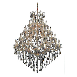 Elegant Lighting 2801G46G-Gt/Ss Swarovski Elements Smoky Golden Teak Crystal Maria Theresa 49-Light, Four-Tier Crystal Chandelier, Finished In Gold With Smoky Golden Teak Crystals