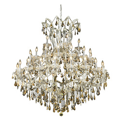 Elegant Lighting 2801G52C-Gt/Ss Swarovski Elements Smoky Golden Teak Crystal Maria Theresa 41-Light, Three-Tier Crystal Chandelier, Finished In Chrome With Smoky Golden Teak Crystals