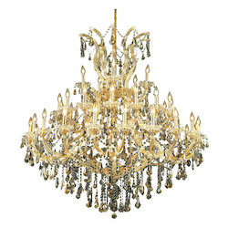 Elegant Lighting 2801G52G-Gt/Ss Swarovski Elements Smoky Golden Teak Crystal Maria Theresa 41-Light, Three-Tier Crystal Chandelier, Finished In Gold With Smoky Golden Teak Crystals