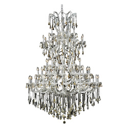 Elegant Lighting 2801G54C-Gt/Ss Swarovski Elements Smoky Golden Teak Crystal Maria Theresa 61-Light, Five-Tier Crystal Chandelier, Finished In Chrome With Smoky Golden Teak Crystals
