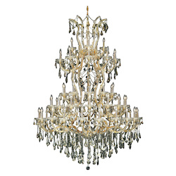 Elegant Lighting 2801G54G-Gt/Ss Swarovski Elements Smoky Golden Teak Crystal Maria Theresa 61-Light, Five-Tier Crystal Chandelier, Finished In Gold With Smoky Golden Teak Crystals
