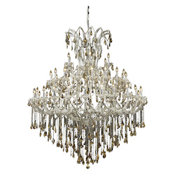 Elegant Lighting 2801G60C-Gt/Ss Swarovski Elements Smoky Golden Teak Crystal Maria Theresa 49-Light, Five-Tier Crystal Chandelier, Finished In Chrome With Smoky Golden Teak Crystals
