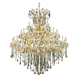 Elegant Lighting 2801G60G-Gt/Ss Swarovski Elements Smoky Golden Teak Crystal Maria Theresa 49-Light, Five-Tier Crystal Chandelier, Finished In Gold With Smoky Golden Teak Crystals
