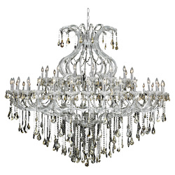 Elegant Lighting 2801G72C-Gt/Ss Swarovski Elements Smoky Golden Teak Crystal Maria Theresa 49-Light, Two-Tier Crystal Chandelier, Finished In Chrome With Smoky Golden Teak Crystals