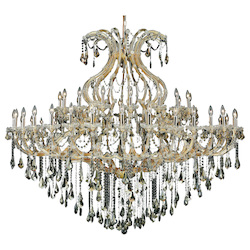 Elegant Lighting 2801G72G-Gt/Ss Swarovski Elements Smoky Golden Teak Crystal Maria Theresa 49-Light, Two-Tier Crystal Chandelier, Finished In Gold With Smoky Golden Teak Crystals