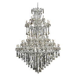 Elegant Lighting 2801G96C-Gt/Ss Swarovski Elements Smoky Golden Teak Crystal Maria Theresa 85-Light, Five-Tier Crystal Chandelier, Finished In Chrome With Smoky Golden Teak Crystals