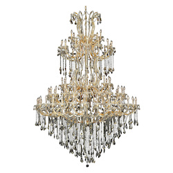 Elegant Lighting 2801G96G-Gt/Ss Swarovski Elements Smoky Golden Teak Crystal Maria Theresa 85-Light, Five-Tier Crystal Chandelier, Finished In Gold With Smoky Golden Teak Crystals