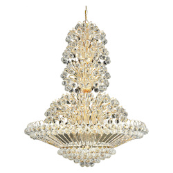Elegant Lighting 2908G36G/Ss Swarovski Elements Clear Crystal Sirius 33-Light, Four-Tier Crystal Chandelier, Finished In Gold With Clear Crystals
