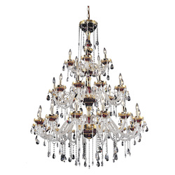 Elegant Lighting 7810G45G/Sa Swarovski Spectra Clear Crystal Alexandria 30-Light, Three-Tier Crystal Chandelier, Finished In Gold With Clear Crystals