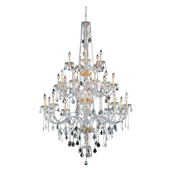 Elegant Lighting 7825G43G/Sa Swarovski Spectra Clear Crystal Verona 25-Light, Three-Tier Crystal Chandelier, Finished In Gold With Clear Crystals
