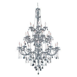 Elegant Lighting 7825G43Ss-Ss/Ss Swarovski Elements Grey Silver Shade Crystal Verona 25-Light, Three-Tier Crystal Chandelier, Finished In Silver Shade With Grey Silver Shade Crystals