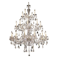 Elegant Lighting 7829G45C/Ss Swarovski Elements Clear Crystal Alexandria 24-Light, Three-Tier Crystal Chandelier, Finished In Chrome With Clear Crystals