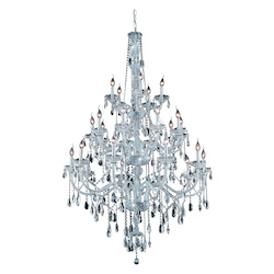 Elegant Cut Clear Crystal Verona 25-Light, Three-Tier Crystal Chandelier, Finished in Chrome with Clear Crystals