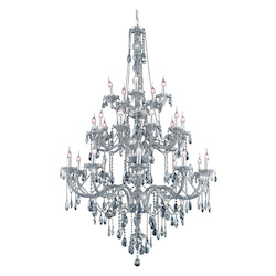 Elegant Lighting 7925G43Ss-Ss/Ss Swarovski Elements Grey Silver Shade Crystal Verona 25-Light, Three-Tier Crystal Chandelier, Finished In Silver Shade With Grey Silver Shade Crystals