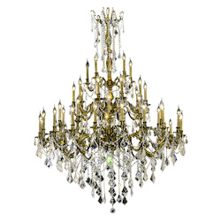 Elegant Cut Clear Crystal Rosalia 45-Light, Three-Tier Crystal Chandelier, Finished in Antique Bronze with Clear Crystals