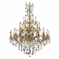 Elegant Cut Clear Crystal Rosalia 45-Light, Three-Tier Crystal Chandelier, Finished in French Gold with Clear Crystals
