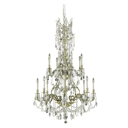 Elegant Cut Clear Crystal Monarch 16-Light, Two-Tier Crystal Chandelier, Finished in Antique Bronze with Clear Crystals