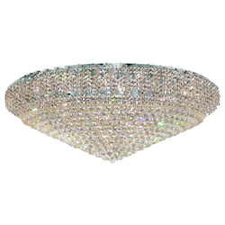 Elegant Cut Clear Crystal Belenus 36-Light, Single-Tier Flush Mount Crystal Chandelier, Finished in Chrome with Clear Crystals
