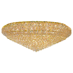 Elegant Cut Clear Crystal Belenus 36-Light, Single-Tier Flush Mount Crystal Chandelier, Finished in Gold with Clear Crystals